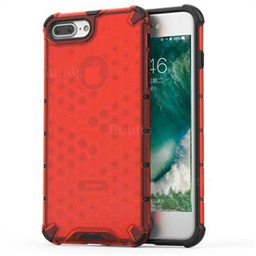 Honeycomb TPU + PC Hybrid Armor Shockproof Case Cover for iPhone 8 Plus / 7 Plus 7P(5.5 inch) - Red