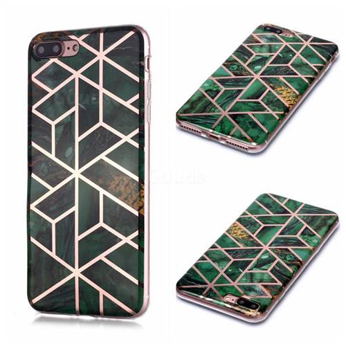 Green Rhombus Galvanized Rose Gold Marble Phone Back Cover for iPhone 8 Plus / 7 Plus 7P(5.5 inch)