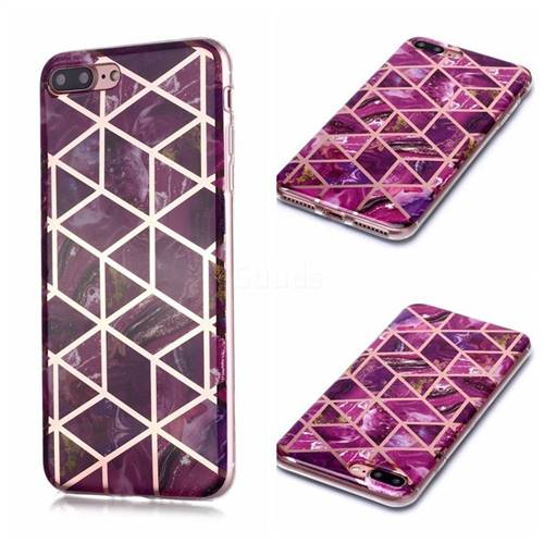 Purple Rhombus Galvanized Rose Gold Marble Phone Back Cover for iPhone 8 Plus / 7 Plus 7P(5.5 inch)