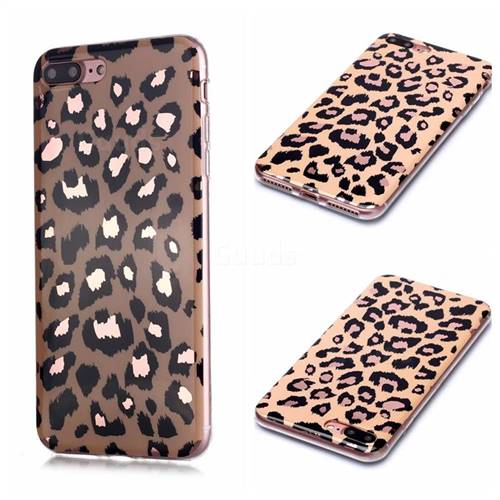 Leopard Galvanized Rose Gold Marble Phone Back Cover for iPhone 8 Plus / 7 Plus 7P(5.5 inch)