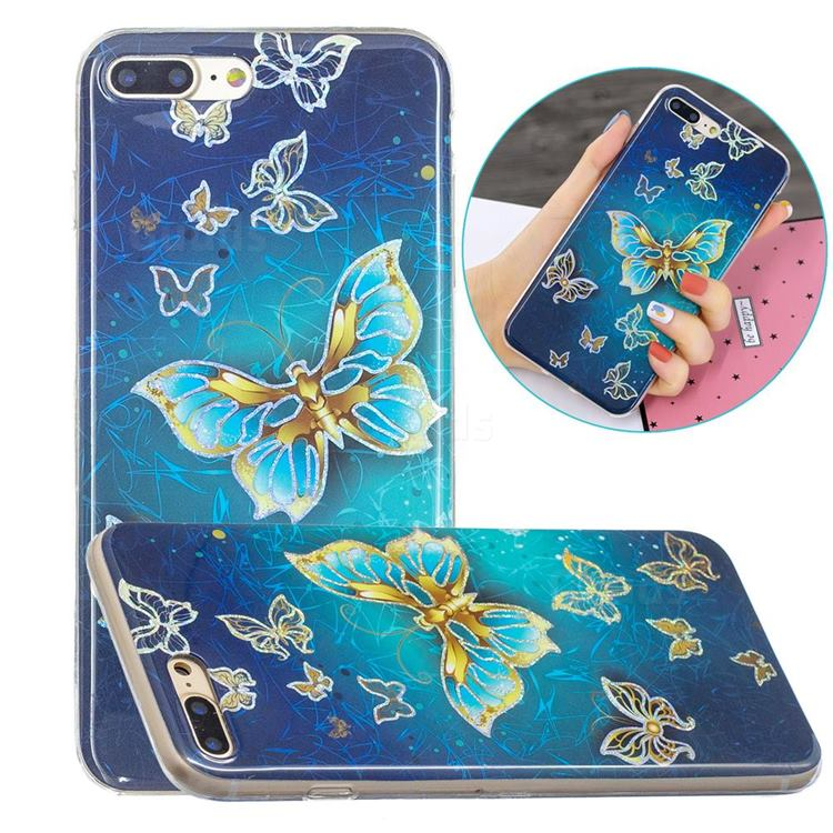 Golden Butterfly Painted Galvanized Electroplating Soft Phone Case Cover for iPhone 8 Plus / 7 Plus 7P(5.5 inch)