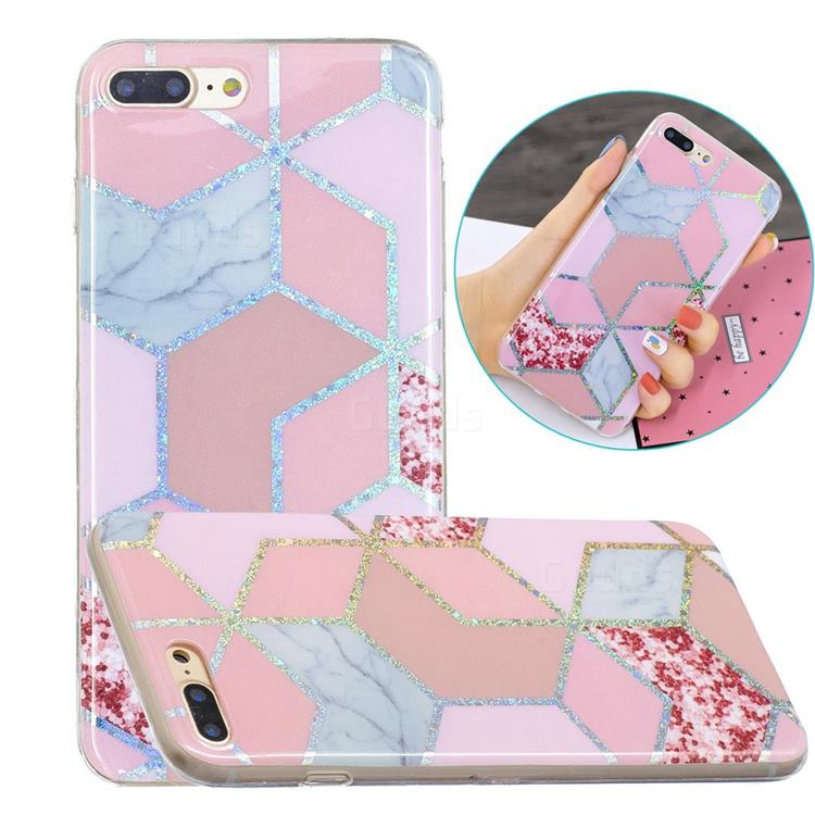 Pink Marble Painted Galvanized Electroplating Soft Phone Case Cover for iPhone 8 Plus / 7 Plus 7P(5.5 inch)