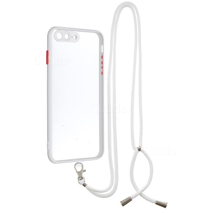 Necklace Cross-body Lanyard Strap Cord Phone Case Cover for iPhone 8 Plus / 7 Plus 7P(5.5 inch) - White