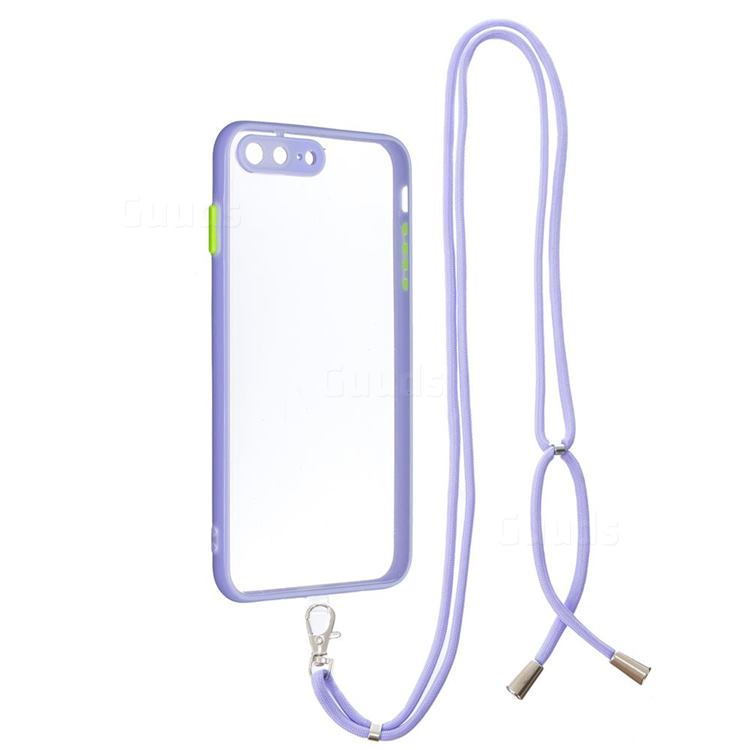 Necklace Cross-body Lanyard Strap Cord Phone Case Cover for iPhone 8 Plus / 7 Plus 7P(5.5 inch) - Purple
