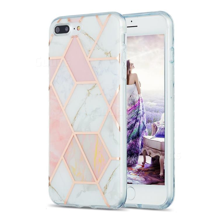 Pink White Marble Pattern Galvanized Electroplating Protective Case Cover for iPhone 8 Plus / 7 Plus 7P(5.5 inch)