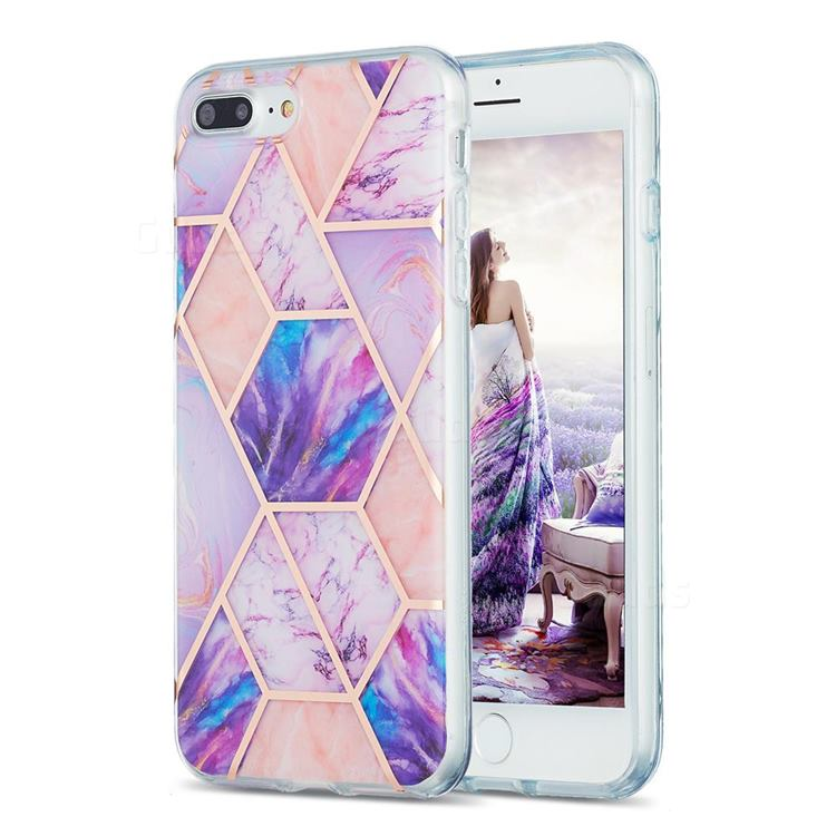 Purple Dream Marble Pattern Galvanized Electroplating Protective Case Cover for iPhone 8 Plus / 7 Plus 7P(5.5 inch)