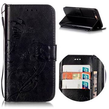 Embossing Butterfly Flower Leather Wallet Case for iPhone 8 Plus / 7 Plus 8P 7P (5.5 inch) - Black