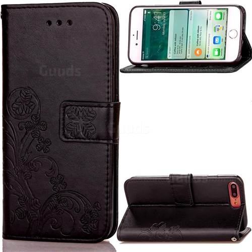 Embossing Imprint Four-Leaf Clover Leather Wallet Case for iPhone 8 Plus / 7 Plus 8P 7P (5.5 inch) - Black