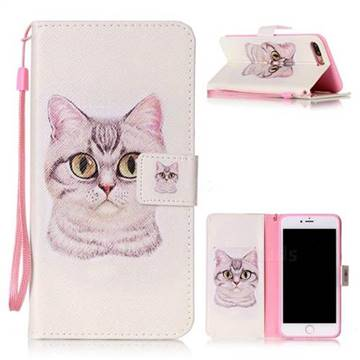 Lovely Cat Leather Wallet Phone Case for iPhone 8 Plus / 7 Plus 8P 7P (5.5 inch)