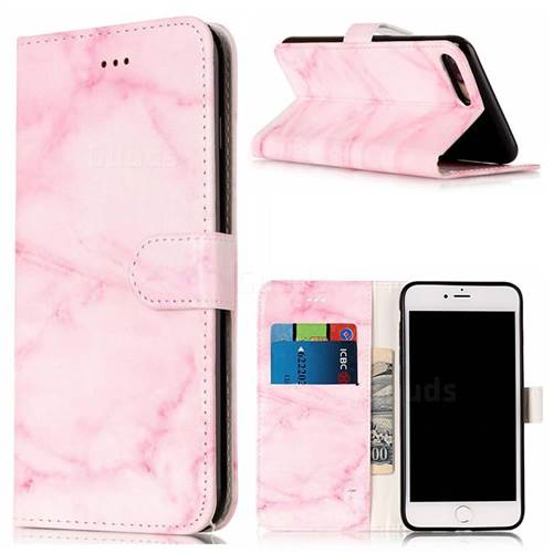 Pink Marble PU Leather Wallet Case for iPhone 8 Plus / 7 Plus 8P 7P(5.5 inch)