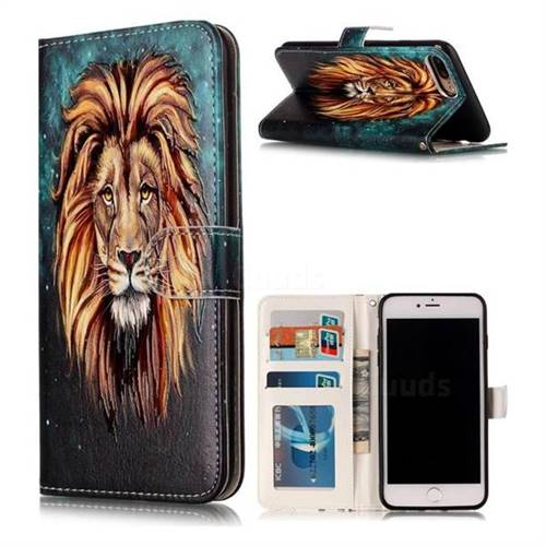 Ice Lion 3D Relief Oil PU Leather Wallet Case for iPhone 8 Plus / 7 Plus 8P 7P(5.5 inch)