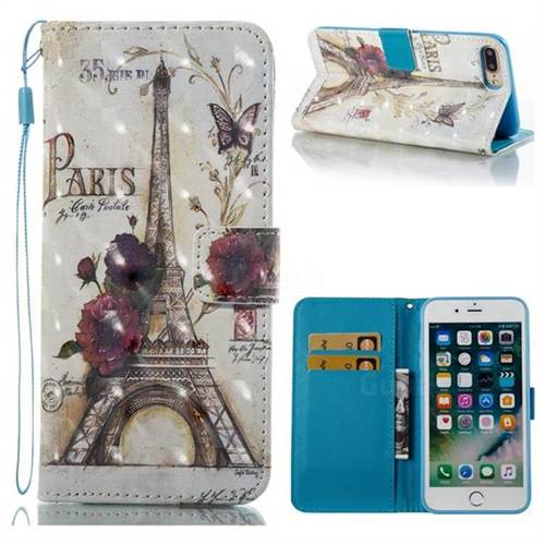 Flower Eiffel Tower 3D Painted Leather Wallet Case for iPhone 8 Plus / 7 Plus 8P 7P(5.5 inch)