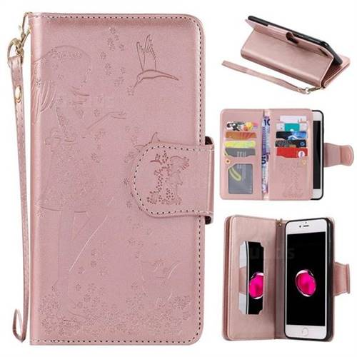 Embossing Cat Girl 9 Card Leather Wallet Case For Iphone 8 Plus 7 Plus 7p55 Inch Rose Gold