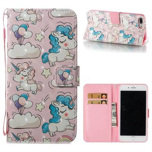 Angel Pony 3D Painted Leather Wallet Case for iPhone 8 Plus / 7 Plus 7P(5.5 inch)