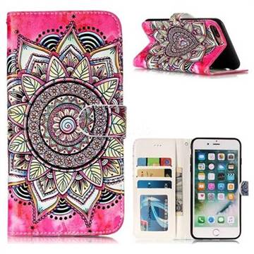 Rose Mandala 3D Relief Oil PU Leather Wallet Case for iPhone 8 Plus / 7 Plus 7P(5.5 inch)