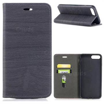 Tree Bark Pattern Automatic suction Leather Wallet Case for iPhone 8 Plus / 7 Plus 7P(5.5 inch) - Gray