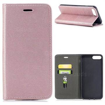 Tree Bark Pattern Automatic suction Leather Wallet Case for iPhone 8 Plus / 7 Plus 7P(5.5 inch) - Rose Gold
