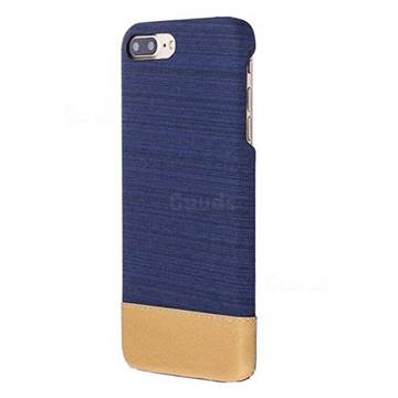 Canvas Cloth Coated Plastic Back Cover for iPhone 8 Plus / 7 Plus 7P(5.5 inch) - Dark Blue