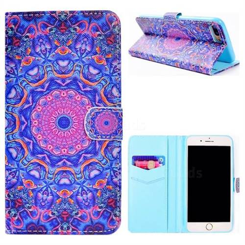 Purple Mandala Flower Stand Leather Wallet Case for iPhone 8 Plus / 7 Plus 7P(5.5 inch)