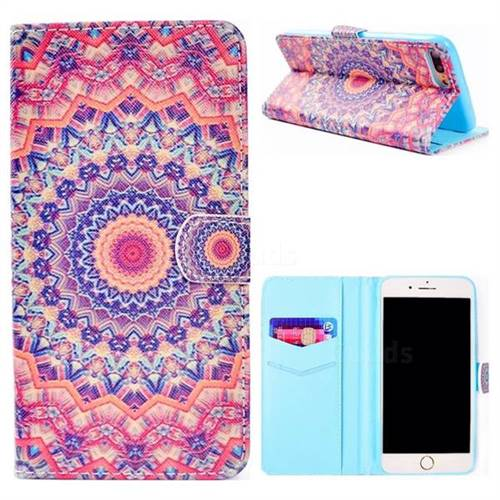 Orange Mandala Flower Stand Leather Wallet Case for iPhone 8 Plus / 7 Plus 7P(5.5 inch)