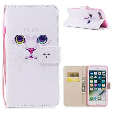 White Cat PU Leather Wallet Case for iPhone 8 Plus / 7 Plus 7P(5.5 inch)