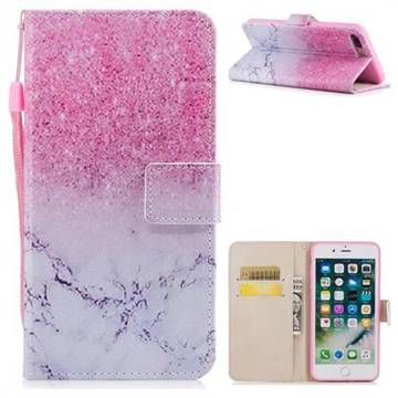 Marble Powder PU Leather Wallet Case for iPhone 8 Plus / 7 Plus 7P(5.5 inch)