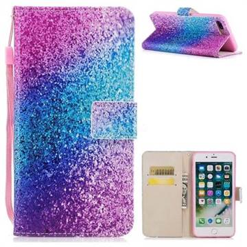 Rainbow Sand PU Leather Wallet Case for iPhone 8 Plus / 7 Plus 7P(5.5 inch)