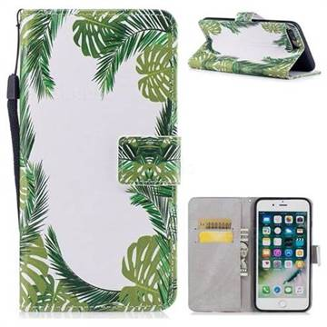 Green Leaves PU Leather Wallet Case for iPhone 8 Plus / 7 Plus 7P(5.5 inch)