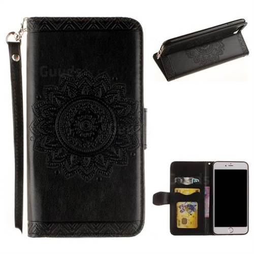 Embossed Datura Flower PU Leather Wallet Case for iPhone 8 Plus / 7 Plus 7P(5.5 inch) - Black