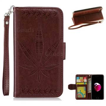 Intricate Embossing Maple Leather Wallet Case for iPhone 8 Plus / 7 Plus 7P(5.5 inch) - Brown