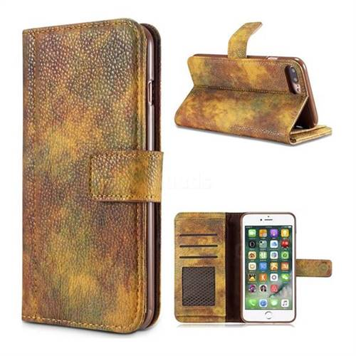 Luxury Retro Forest Series Leather Wallet Case for iPhone 8 Plus / 7 Plus 7P(5.5 inch) - Yellow