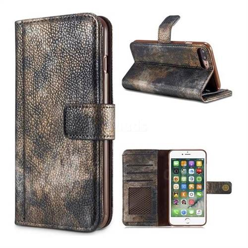 Luxury Retro Forest Series Leather Wallet Case for iPhone 8 Plus / 7 Plus 7P(5.5 inch) - Grey