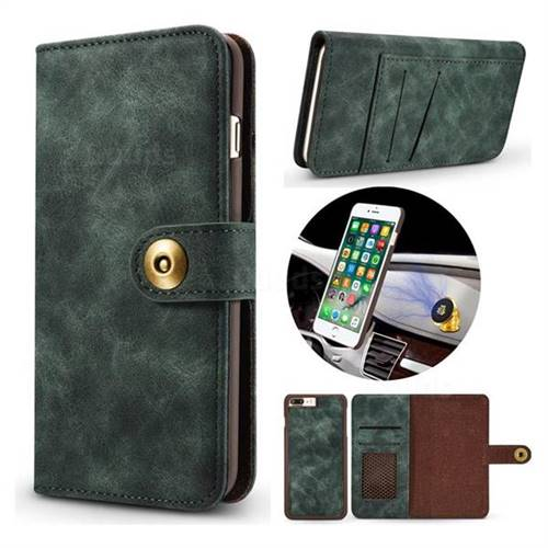 Luxury Vintage Split Separated Leather Wallet Case for iPhone 8 Plus / 7 Plus 7P(5.5 inch) - Dark Green
