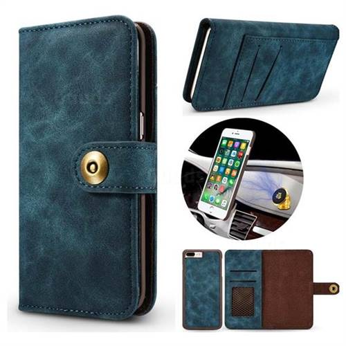 Luxury Vintage Split Separated Leather Wallet Case for iPhone 8 Plus / 7 Plus 7P(5.5 inch) - Navy Blue