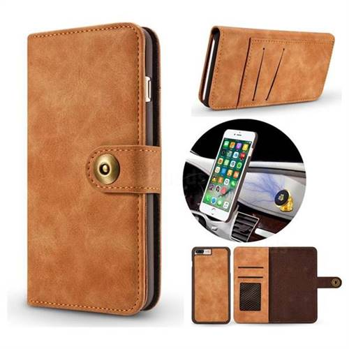 Luxury Vintage Split Separated Leather Wallet Case for iPhone 8 Plus / 7 Plus 7P(5.5 inch) - Khaki