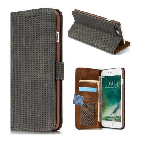 Luxury Vintage Mesh Monternet Leather Wallet Case for iPhone 8 Plus / 7 Plus 7P(5.5 inch) - Black