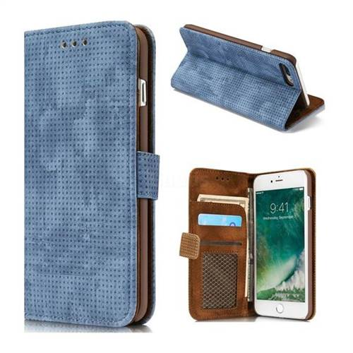 Luxury Vintage Mesh Monternet Leather Wallet Case for iPhone 8 Plus / 7 Plus 7P(5.5 inch) - Blue