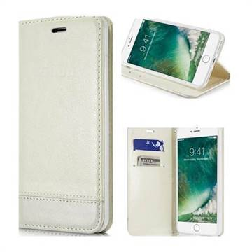 Magnetic Suck Stitching Slim Leather Wallet Case for iPhone 8 Plus / 7 Plus 7P(5.5 inch) - White