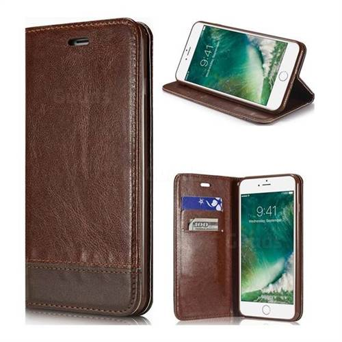 Magnetic Suck Stitching Slim Leather Wallet Case for iPhone 8 Plus / 7 Plus 7P(5.5 inch) - Brown