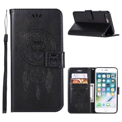 Intricate Embossing Owl Campanula Leather Wallet Case for iPhone 8 Plus / 7 Plus 7P(5.5 inch) - Black