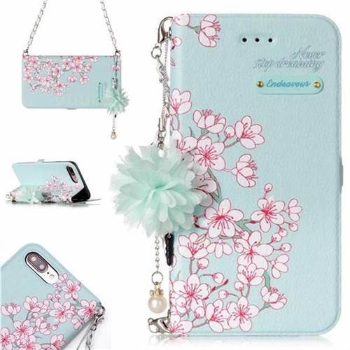 Cherry Blossoms Endeavour Florid Pearl Flower Pendant Metal Strap PU Leather Wallet Case for iPhone 8 Plus / 7 Plus 7P(5.5 inch)