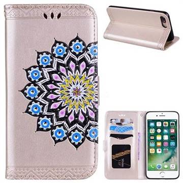Datura Flowers Flash Powder Leather Wallet Holster Case for iPhone 8 Plus / 7 Plus 7P(5.5 inch) - Golden
