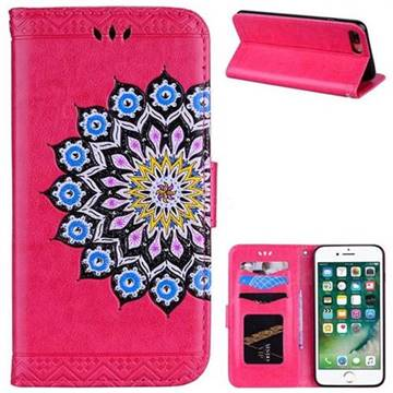 Datura Flowers Flash Powder Leather Wallet Holster Case for iPhone 8 Plus / 7 Plus 7P(5.5 inch) - Rose