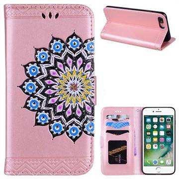 Datura Flowers Flash Powder Leather Wallet Holster Case for iPhone 8 Plus / 7 Plus 7P(5.5 inch) - Pink