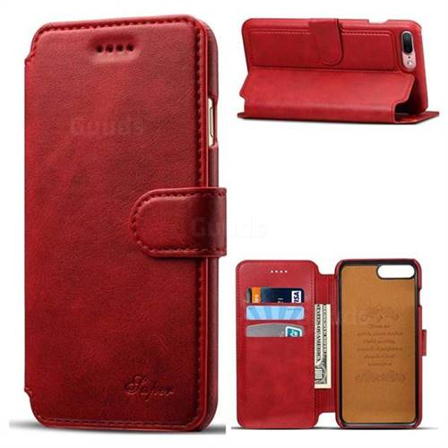 Suteni Calf Stripe Leather Wallet Flip Phone Case for iPhone 8 Plus / 7 Plus 7P(5.5 inch) - Red