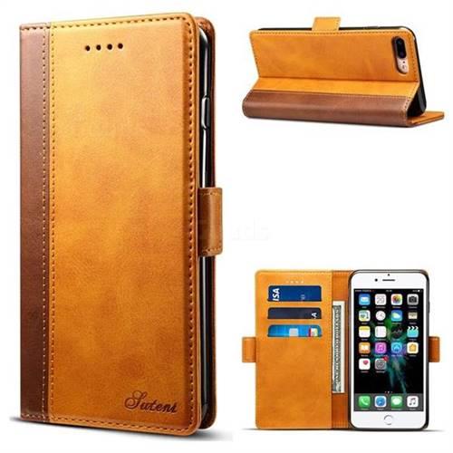 Suteni Calf Stripe Dual Color Leather Wallet Flip Case for iPhone 8 Plus / 7 Plus 7P(5.5 inch) - Khaki