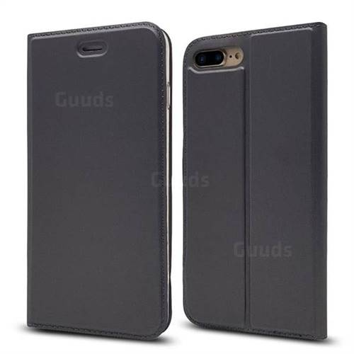 Ultra Slim Card Magnetic Automatic Suction Leather Wallet Case for iPhone 8 Plus / 7 Plus 7P(5.5 inch) - Star Grey