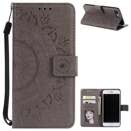 Intricate Embossing Datura Leather Wallet Case for iPhone 8 Plus / 7 Plus 7P(5.5 inch) - Gray