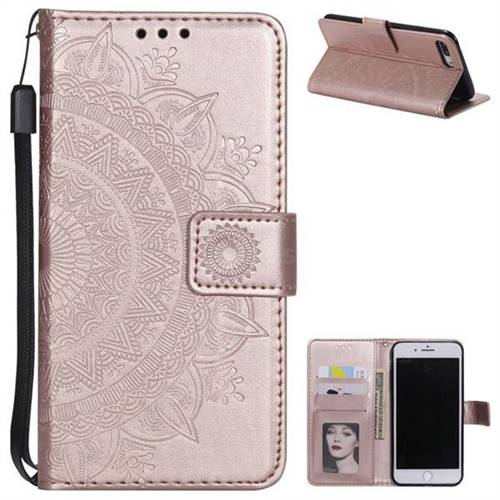 Intricate Embossing Datura Leather Wallet Case for iPhone 8 Plus / 7 Plus 7P(5.5 inch) - Rose Gold
