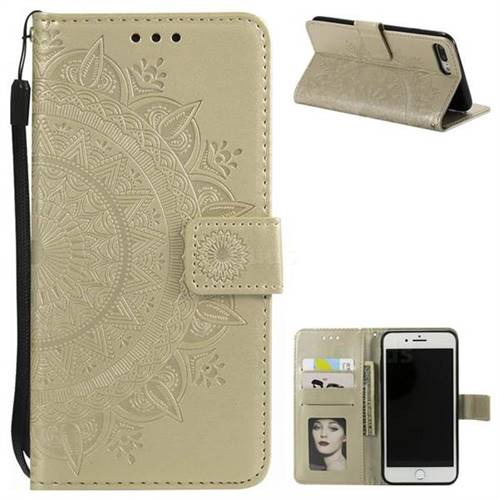 Intricate Embossing Datura Leather Wallet Case for iPhone 8 Plus / 7 Plus 7P(5.5 inch) - Golden